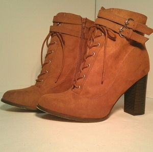 Just fab Cognac heeled combat boots